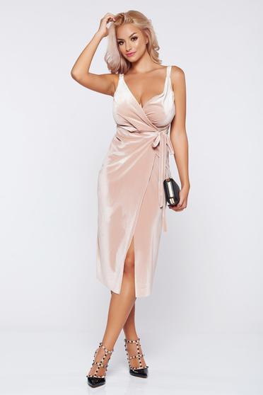 Rózsaszínű alkalmi átfedéses bársony ruha