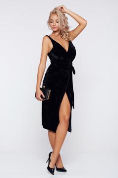 Fekete alkalmi átfedéses bársony ruha