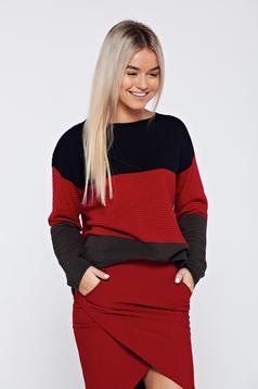 Piros hétköznapi bő szabás kötött pulóver