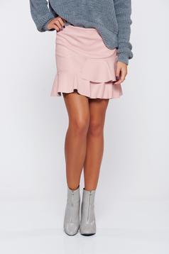 Rózsaszínű hétköznapi rövid fodros szoknya
