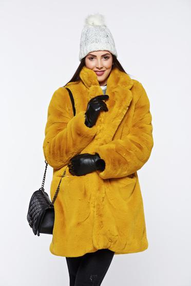 Sárga elegáns szőrme elől zsebek belső béléssel