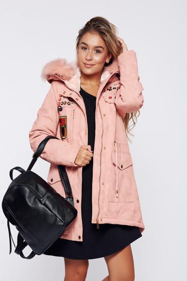 Pink hétköznapi dzseki dzseki műbőr bundabélessel ellátva