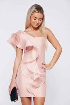 Rózsaszínű Ana Radu alkalmi egy vállas fodros ruha