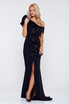 Fekete Ana Radu alkalmi szűk szabású fodros ruha
