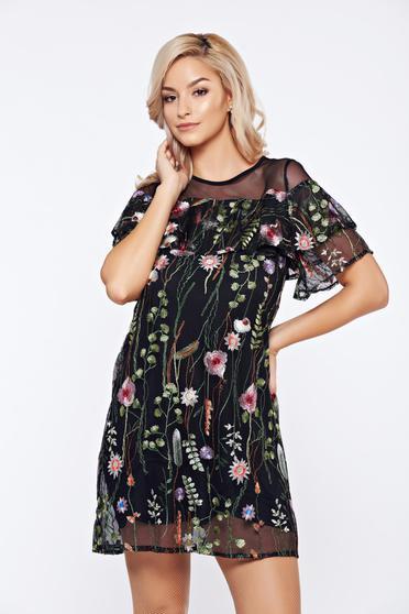 Fekete Top Secret hétköznapi tüll virágmintás ruha