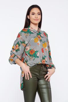 Fehér Top Secret hétköznapi aszimetrikus virágmintás kockás női ing