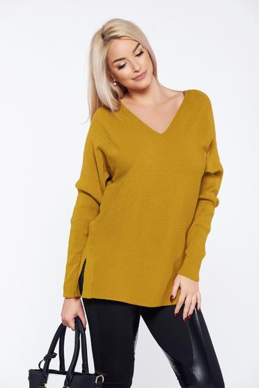 Sárga Top Secret hétköznapi bő szabású pulóver