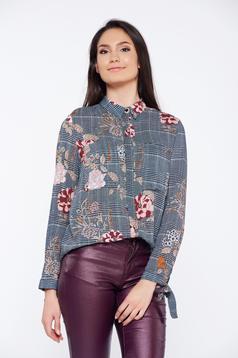 Fekete Top Secret irodai kockás virágmintás női ing