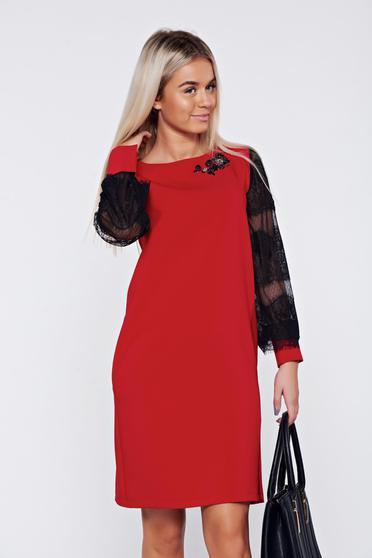 Piros bő szabás LaDonna elegáns ruha csipke ujj