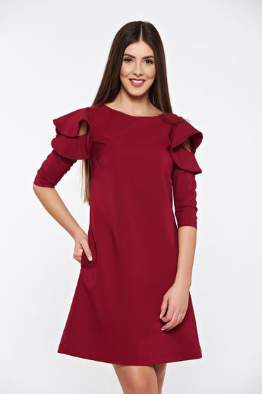 Burgundy LaDonna elegáns bő szabás ruha fodrozott ujjakkal