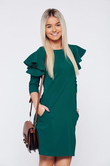 Zöld LaDonna elegáns bő szabás ruha fodrozott ujjakkal