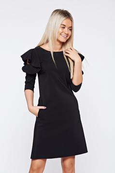 Fekete LaDonna elegáns bő szabás ruha fodrozott ujjakkal