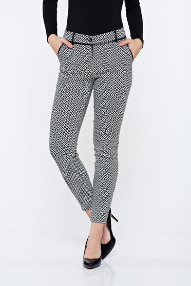 Fehér LaDonna irodai kónikus nadrág geometrikus mintval
