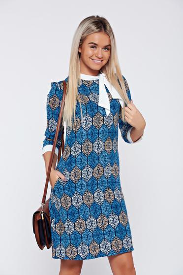 Kék Fofy hétköznapi a-vonalú ruha nyomtatott mintával