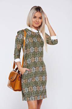 Zöld Fofy hétköznapi a-vonalú ruha nyomtatott mintával