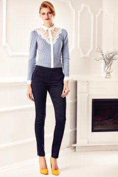Kék Fofy elegáns irodai női ing csipke díszítéssel