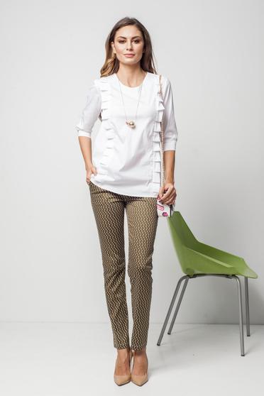 Fehér PrettyGirl bő szabású irodai női ing fodros