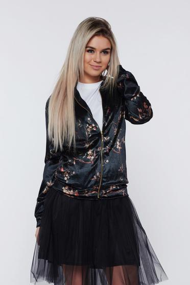 Fekete PrettyGirl hétköznapi virágmintás bársony dzseki
