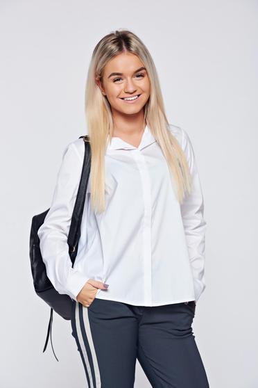 Fehér PrettyGirl bő szabású hétköznapi női ing asszimmetrikus szabással
