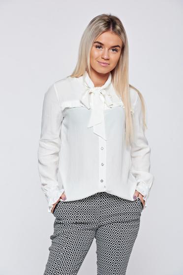 Fehér PrettyGirl elegáns női ing fodrozott ujjakkal