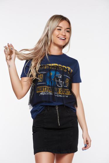 Fekete Top Secret hétköznapi pamutból készült póló tűl kiegészítővel