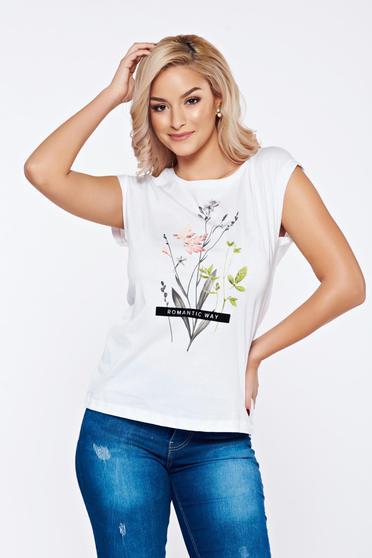 Fehér Top Secret hétköznapi pamutból készült virágmintás póló