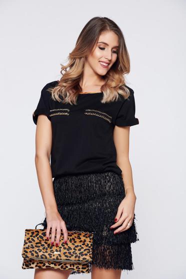 Fekete StarShinerS hétköznapi bő szabású póló pamutból