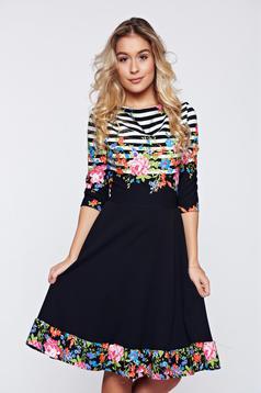 Fekete StarShinerS elegáns hétköznapi harang alakú ruha virágmintával