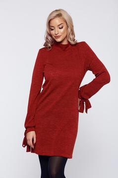Burgundy StarShinerS bő szabás kötött ruha belső béléssel