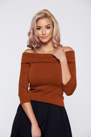 Narancs StarShinerS elegáns kötött pulóver vállon hordható