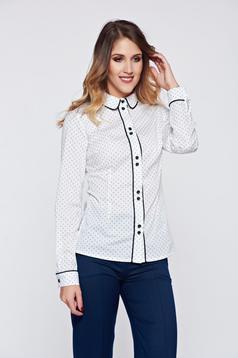 Fehér LaDonna irodai női ing pamutból készült pöttyös