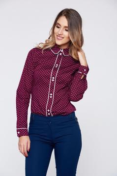 Burgundy LaDonna irodai női ing pamutból készült pöttyös