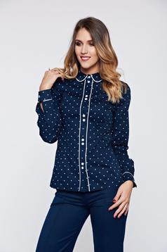 Kék LaDonna irodai női ing pamutból készült pöttyökkel