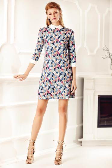Kék Fofy bő szabás hétköznapi ruha nyomtatott mintával