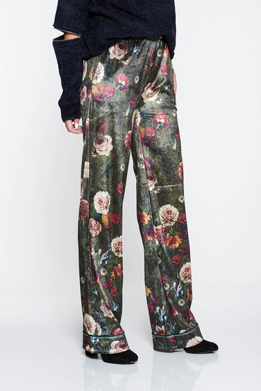Zöld PrettyGirl hétköznapi virágmintás nadrág