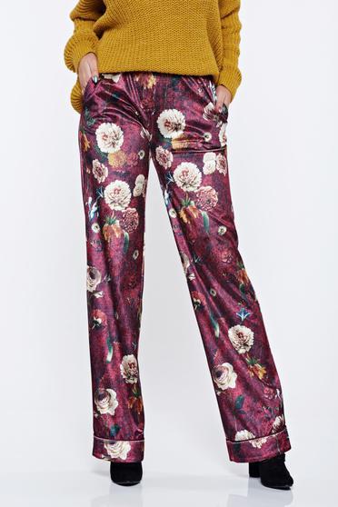 Burgundy PrettyGirl hétköznapi virágmintás nadrág