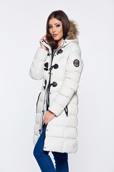 Fehér Top Secret hétköznapi dzseki műszőrme berakásokkal