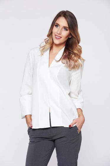 Fehér PrettyGirl irodai női ing v-dekoltázzsal magas gallérral