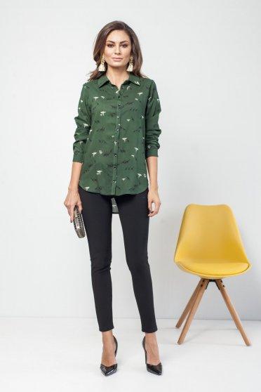 Zöld PrettyGirl bő szabású hétköznapi hosszú ujjú női ing