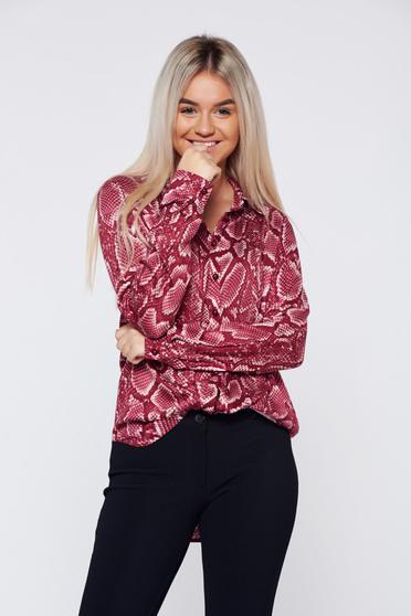 Burgundy PrettyGirl bő szabású hétköznapi hosszú ujjú női ing