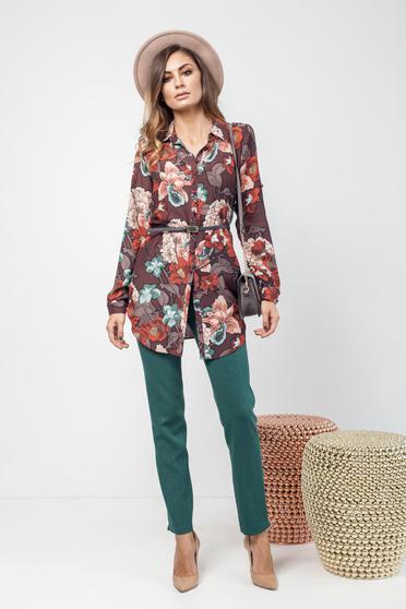 Sötétbarna hétköznapi bő szabás női ing virágmintás
