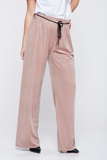 Rózsaszínű derékban rugalmas hétköznapi bő szabás nadrág