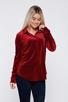 Burgundy hétköznapi bársony bő szabású női ing