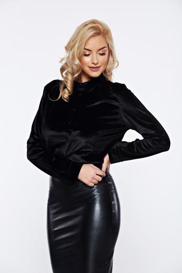Fekete hétköznapi bársony bő szabás női ing
