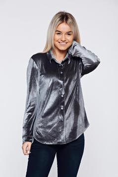 Szürke hétköznapi bársony bő szabás női ing