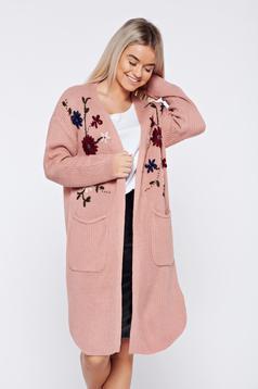 Rózsaszínű hétköznapi hímzett kötött zsebes pulóver