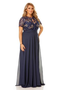 Kék alkalmi ruha hímzett betétekkel dekoltázzsal