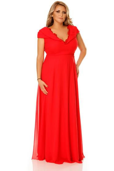 Piros alkalmi ruha dekoltázzsal fátyol anyag