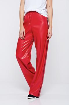 Piros StarShinerS hétköznapi magas derekú műbőr nadrág