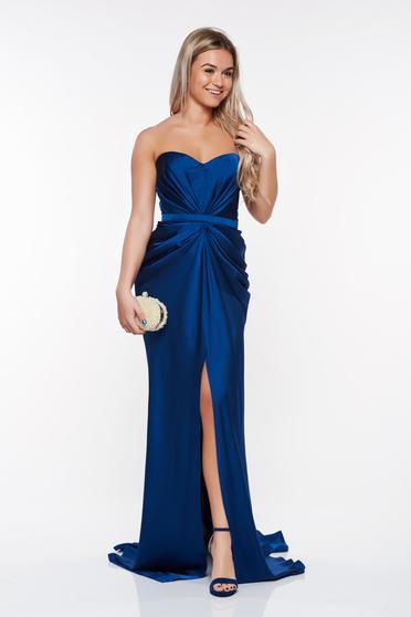 Kék Ana Radu aszimetrikus ruha szivacsos, push-up-os mellrész ráncolt anyaggal